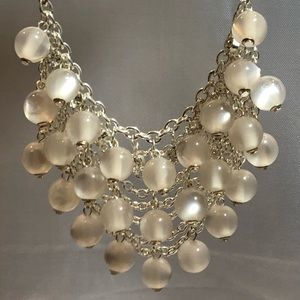 White Cat Eye Beads Net Style Necklace Silver Tone